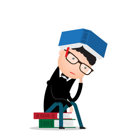 thinker: man sits on books in the pose of a thinker and thinks
