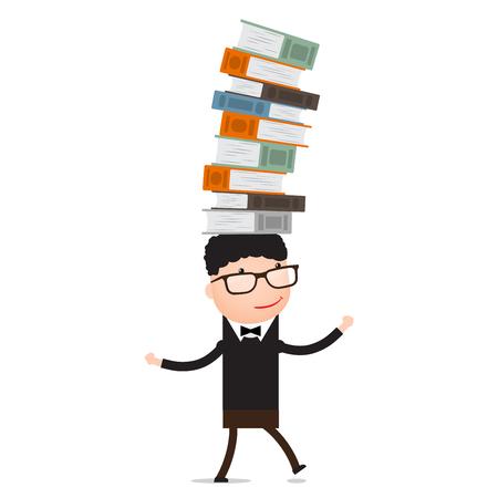 Boy playing with the books holds the balance Ilustração