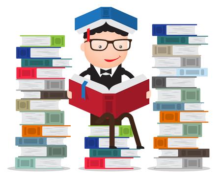 Afgestudeerde of student of leerling leunend op een stapel boeken lezen