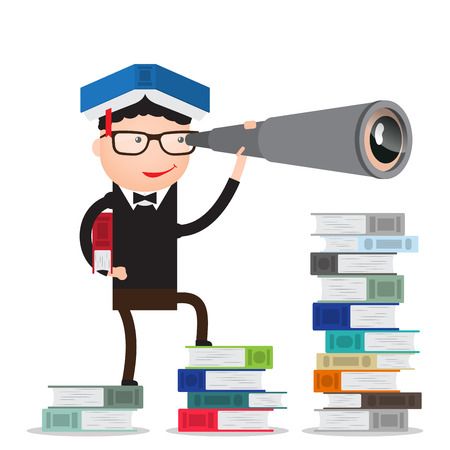 graduate is on the books and looks forward through the telescope. infographic, people, search, education Ilustração
