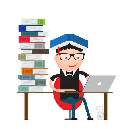 Student zitten op de bibliotheekcomputer en lezen nieuws