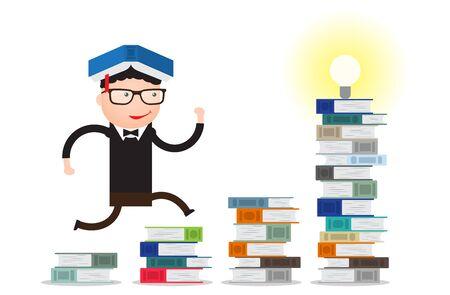 the student runs through the stacks of books up to knowledge Ilustração