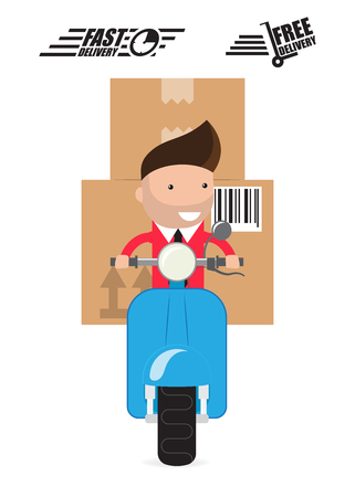Delivery Boy Ride Scooter Motorcycle Service, Order, Worldwide Shipping, Fast and Free Transport Ilustração