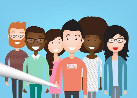mix race: People Group Taking Selfie Photo On Smart Phone Mix Race Illustration