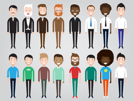 nationalities: Set of diverse business people isolated on white background. Different nationalities and dress styles. Cute and simple flat cartoon style