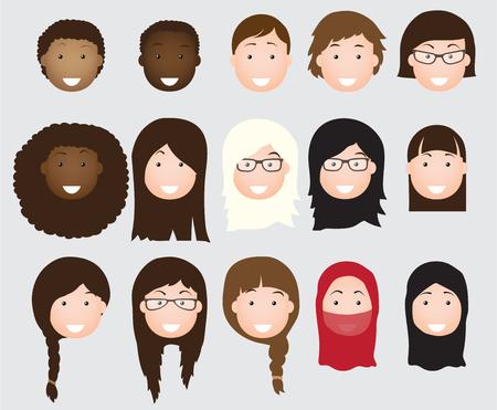 People avatars collection woman flat icon Ilustração