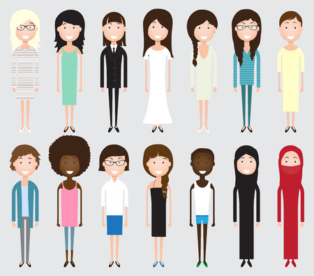nationality: Set of diverse business people isolated on white background. Different nationalities and dress styles. Cute and simple flat cartoon style