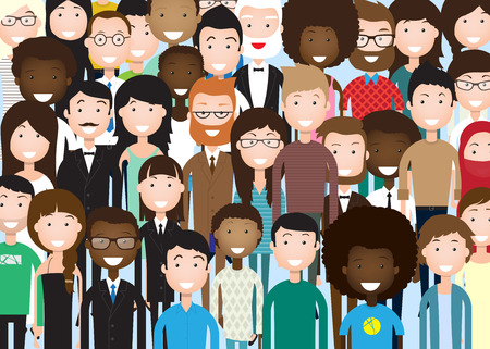 ? group: Grupo de hombres de negocios enorme muchedumbre empresarios mezcla étnica diversa Ilustración plana