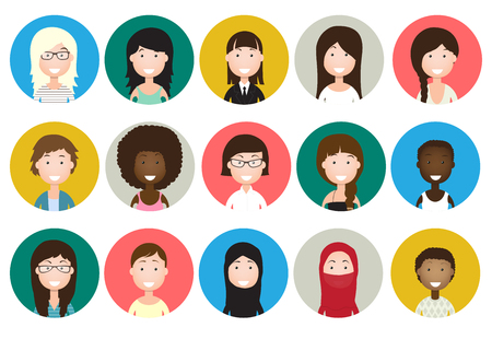 pretty blonde girl: People avatars collection woman flat icon Illustration
