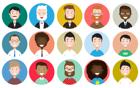 Male avatar icons set. People characters in flat style. Design elements isolated on white background. Faces with different styles and nationalities. Ilustração