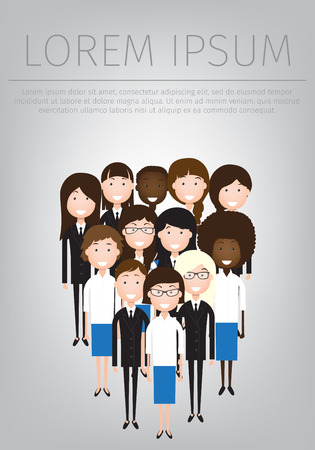 flat illustration of women business community. a large group of women. summit or conference family image Ilustração