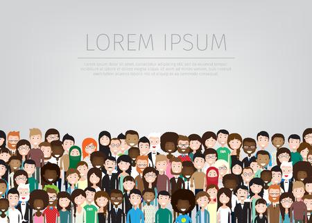 velká skupina různých lidí pozadí