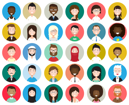 nationalities: Set of diverse round avatars isolated on white background. Different nationalities, clothes and hair styles. Cute and simple flat cartoon style