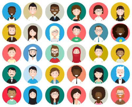 Zestaw różnych awatarów rundy samodzielnie na białym tle. Różne narodowości, ubrania i style włosów. Słodki i prosty płaski styl kreskówki