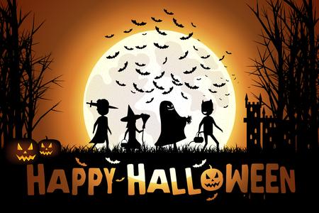 treats: Ilustración de los niños en trajes de colores va truco o trato en Halloween