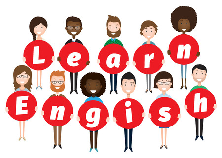 pupils or students stand and hold the letter learn English