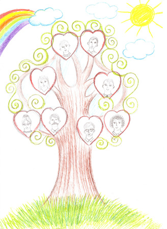 Children drawing family and genealogical tree Stockfoto
