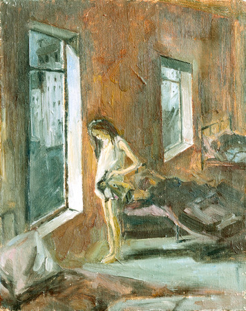 Sketch of the painting brush and oil.Girl in an orphanage Foto de archivo