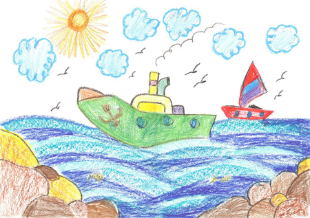 childs: Childs drawing ship and sailboat Stock Photo