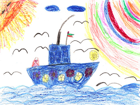 Childrens painting ship in sea