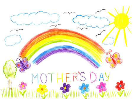 Child drawing mothers day. Flowers, sun and rainbow on a greeting cards photo