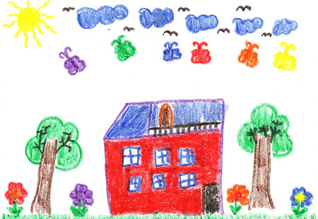 homestead: Child drawing of a family house