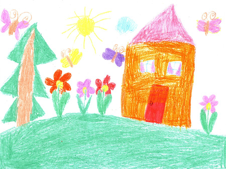 Child drawing-family house