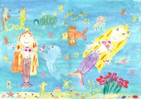 Children drawing mermaid photo