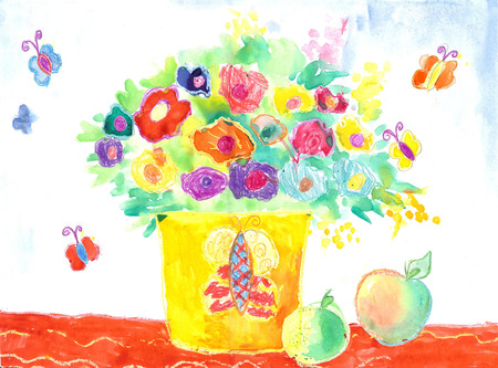 Watercolor Children Drawing. Vase with Flowers Still Life