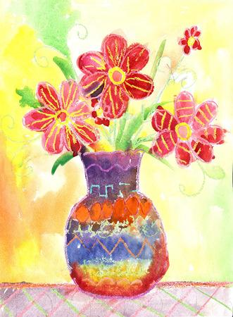 bambini disegno: Acquerello bambini Disegno. Vaso con fiori Still Life