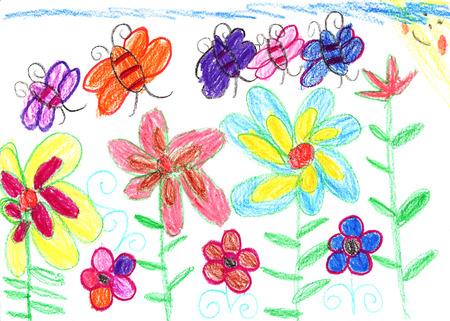 bambini disegno: I bambini di disegno api e fiori della natura