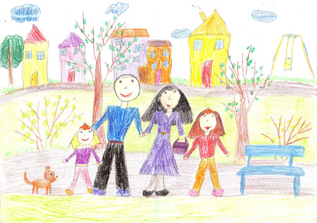 Children drawing of family for a walk