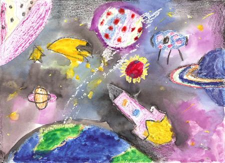 Watercolor children drawing.Flight of the rocket in the universe and the space between planets