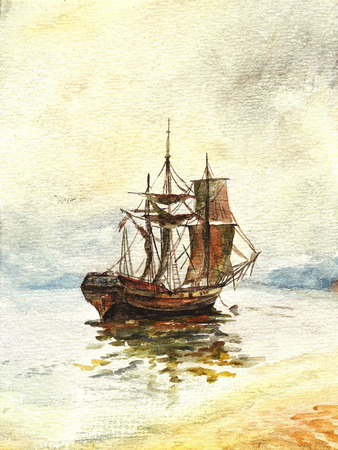 Watercolor painting of the old ship with sails Imagens