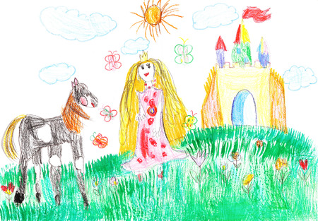 Princess and the horse on the background of the castle Stock Photo
