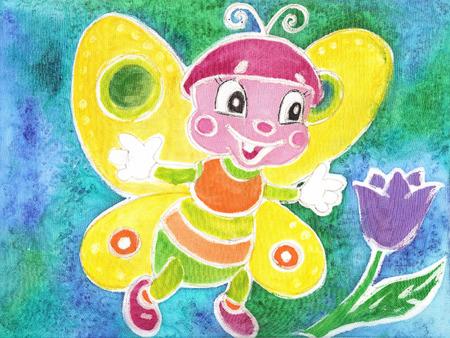 batik: Le papillon gaie avec des ailes color�es. Enfants, dessin aquarelle Batik