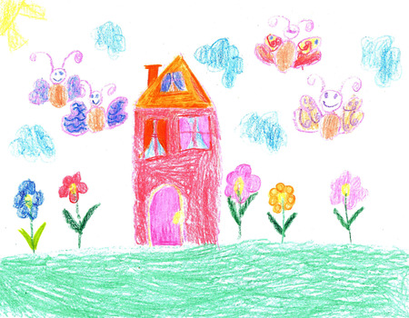 homestead: Children drawing house family Stock Photo