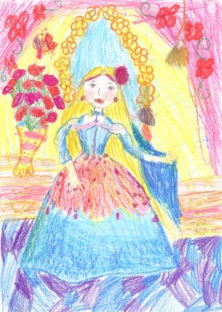 Children drawing princess from a fairy tale Foto de archivo