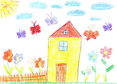 homestead: Child drawing-family house