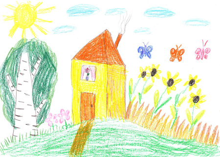 Child drawing-family house photo