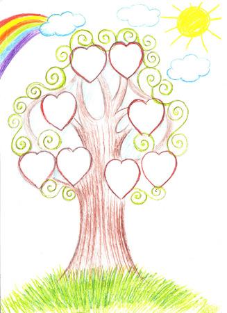 genealogical: Family tree. Genealogical tree artwork illustration Stock Photo