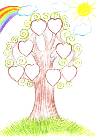 Family tree. Genealogical tree artwork illustration Stock Photo