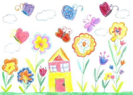 Child drawingfamily house