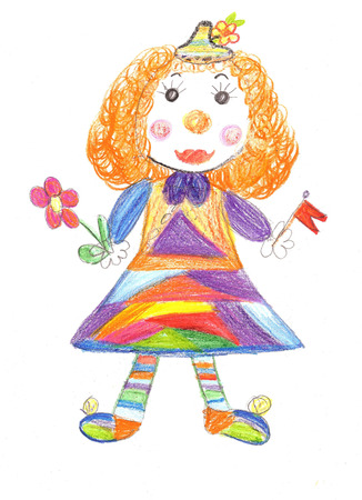 Children drawing cheerful and colorful Circus clown photo