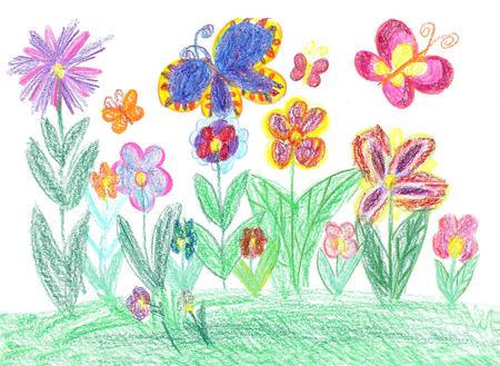 Child drawing butterfly and flowers Foto de archivo