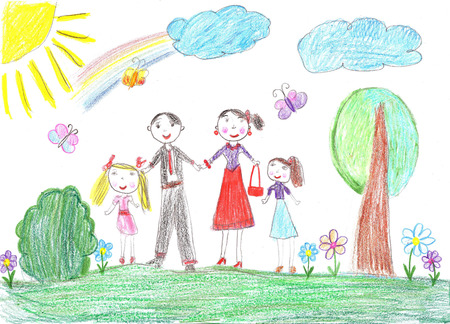 family with two children: Child drawing.Happy family with two children