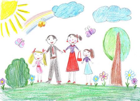 dessin enfants: Enfant famille drawing.Happy avec deux enfants
