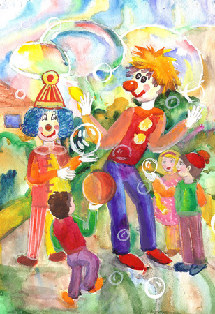 redheaded: Funny and funny clowns entertained the children  hand drawing Stock Photo
