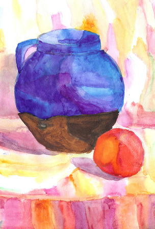 antique art: Watercolor drawing still life. Jug, apple, fruit on the table. Stock Photo