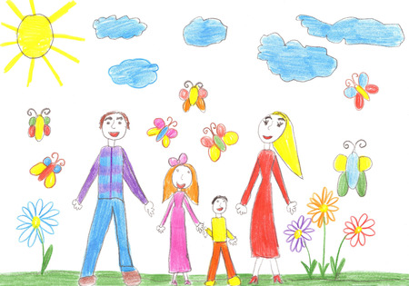two child: Child drawing Happy family with two children - brother and sister Stock Photo